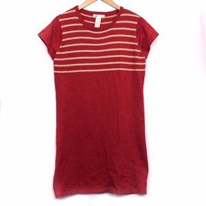 TULLE ANTHROPOLOGIE Red Tan Striped Sweater Dress